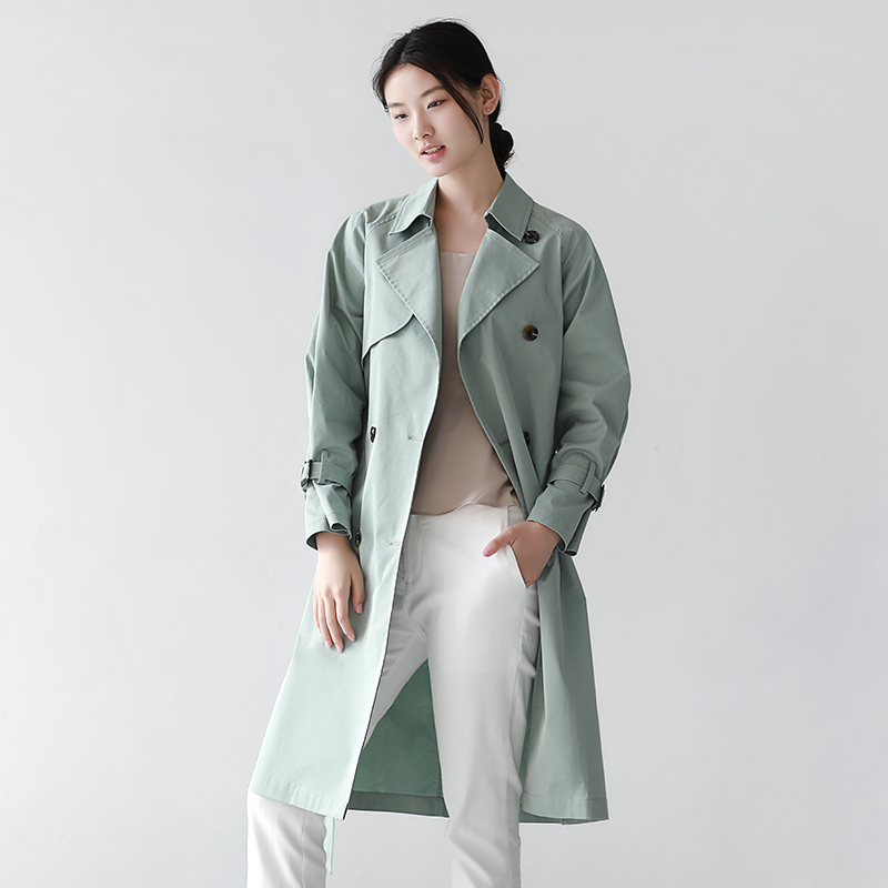 autumn women's windbreaker Korean version of the long section was thin large size double-breasted coat casual wild