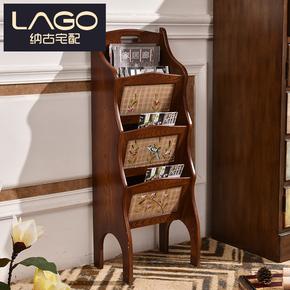 LAGO家具 美式复古杂志书报架 办公室落地立式木质创意收纳报刊架