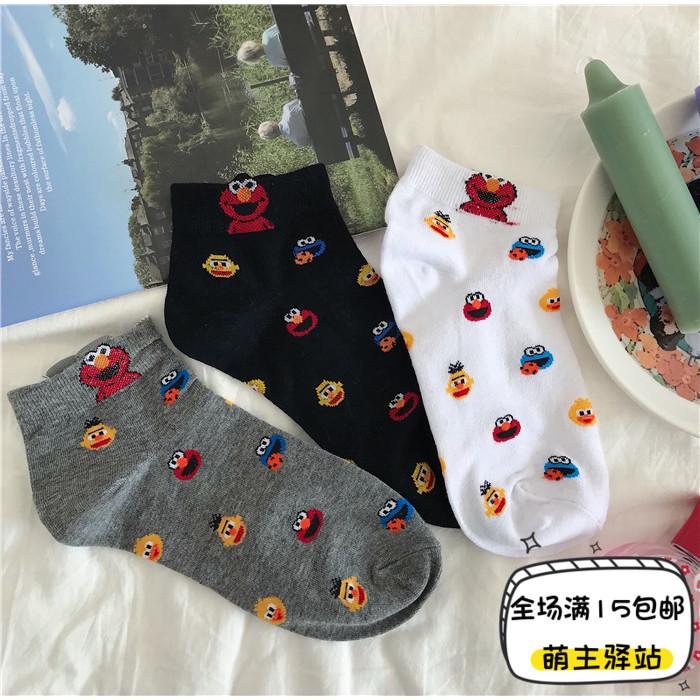 日系学生可爱少女运动短袜动漫芝麻街卡通低帮浅口纯棉百搭潮袜子