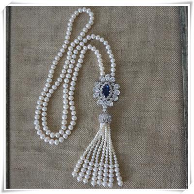 一米手工  天然淡水珍珠 流苏款毛衣链  超长项链 胸针吊坠