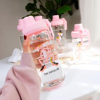韩版创意粉红豹水杯小清新随手玻璃杯韩国简约潮流女学生便携杯子