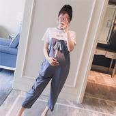 孕妇装2019夏装新款韩版字母短袖系带时尚休闲孕妇背带裤两件套装