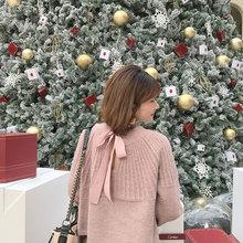 复古粉色甜美网红超火蝴蝶结短款很仙的上衣洋气灯笼袖毛衣女宽松
