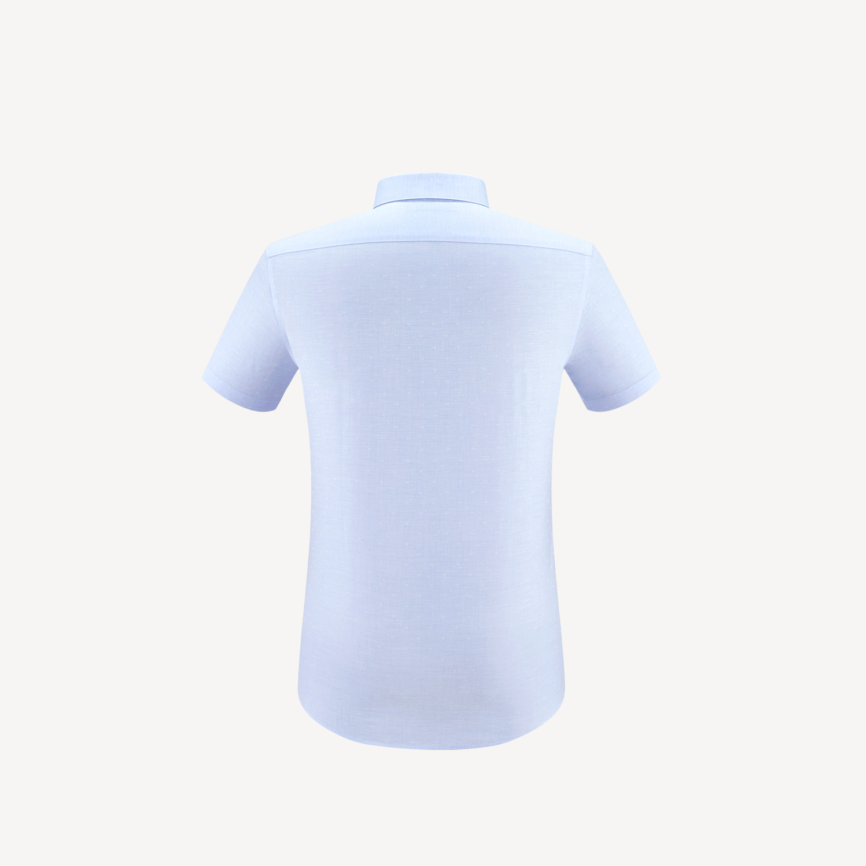 HLA/海澜之家棉麻短袖免烫正装衬衫2019夏季新品绅士短衬男