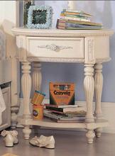 白色描银床头柜欧式边几边柜简约现代样板房装饰柜实木雕花特价柜