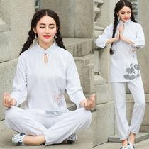中国风复古印花棉麻瑜伽服套装禅修服 七分袖居士服女打坐运动服
