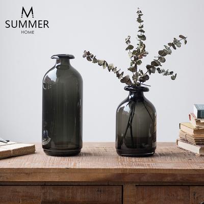 美式乡村 北欧风格复古烟熏深色桌面装饰摆件 插花 玻璃花器花瓶