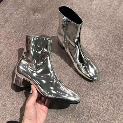 真皮2018夏秋新款欧美亮面银色圆头拉链粗跟短靴女高跟漆皮马丁靴