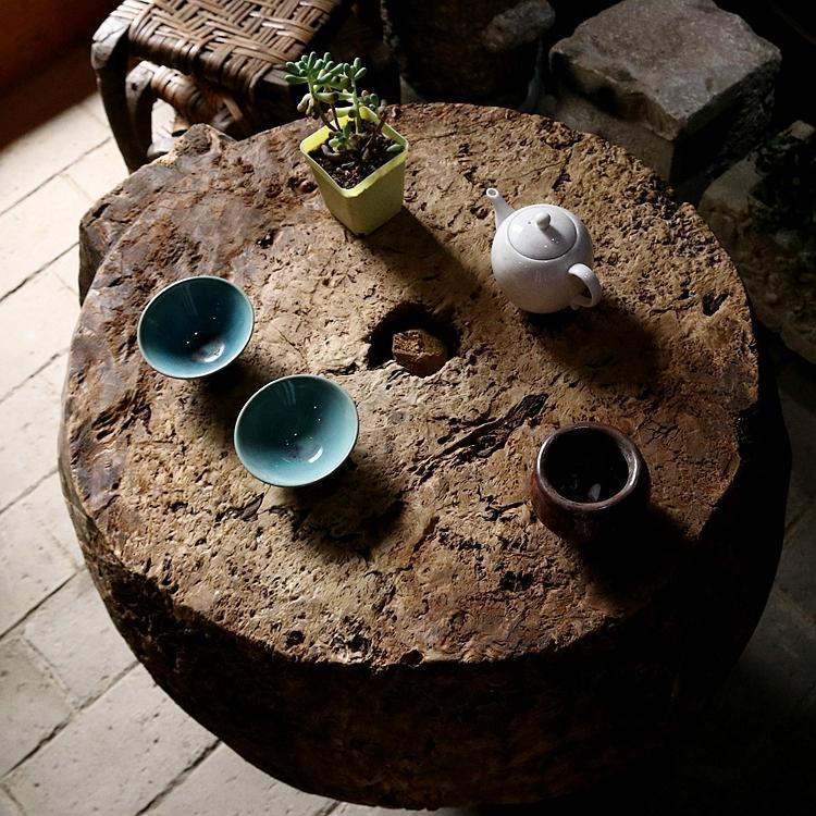 树瘤纹根雕茶桌 精品禅意圆桌 实木边几桌室内枯山水意境装饰木桌