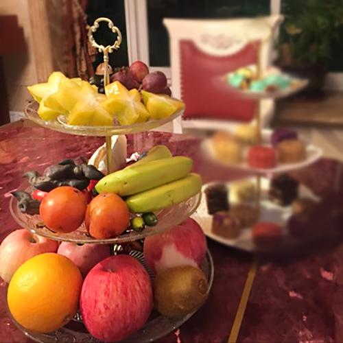 果盘水晶玻璃水果盆客厅双层干果零食盘蛋糕架下午茶点心甜品架3元优惠券