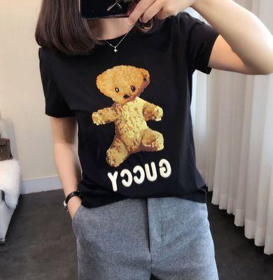 高版本双面丝光棉 人手一件可爱小熊重磅立体刺绣T恤上衣新品8290什么牌子好
