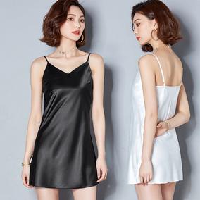 新款夏季性感V领吊带裙打底裙女缎面黑色内搭背心衬裙百搭中长款