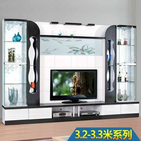 3.15-3.3米客厅电视组合柜韩式电视柜田园风格酒柜玻璃电视机柜