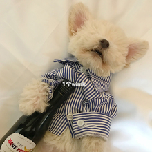Dog striped shirt is thinner than Bear Schnauzer VIP Bomet Teddy pet in spring and summer.