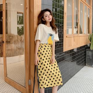 包邮2019夏装新款女装韩版两件套印花波点套装