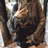 米尺2019新款春装粗线慵懒风毛衣女宽松不规则套头短款V领针织衫