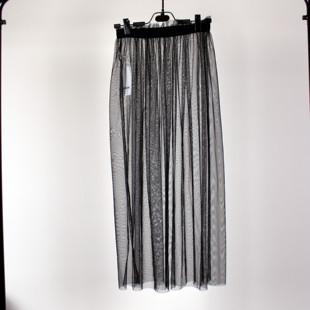 夏季新款超薄透视网纱半身裙女单层黑色打底纱裙高腰外搭透明长裙