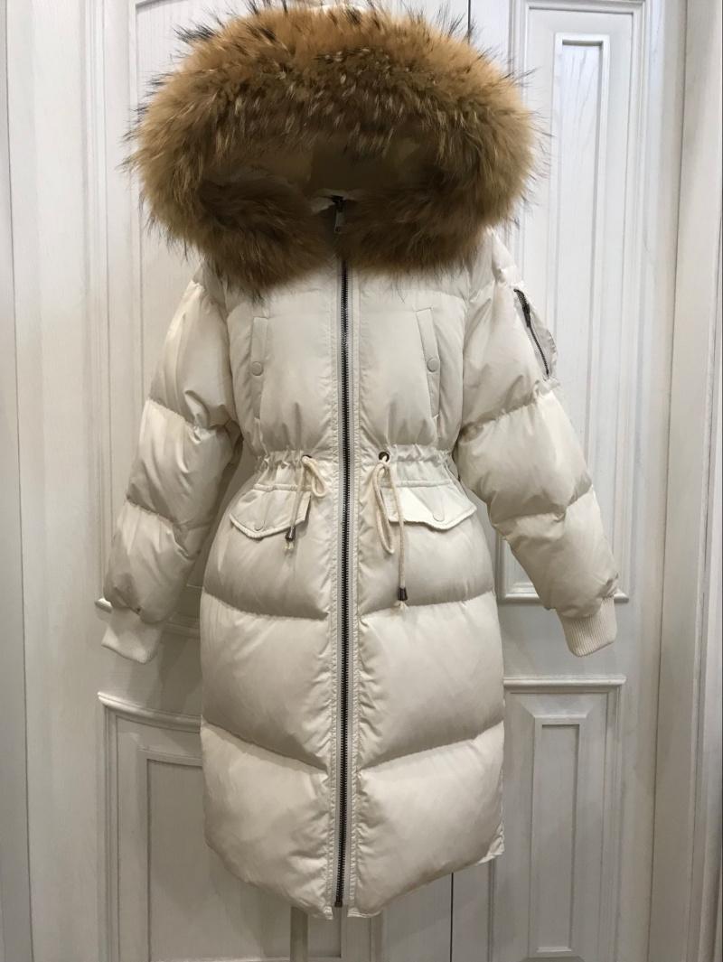 反季韩国时尚收腰保暖羽绒服女中长款2018新款超大毛领宽松外套