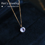 Clove knot. Japanese 18k rose gold light blue purple Tanzanite necklace with very fine clavicle chain