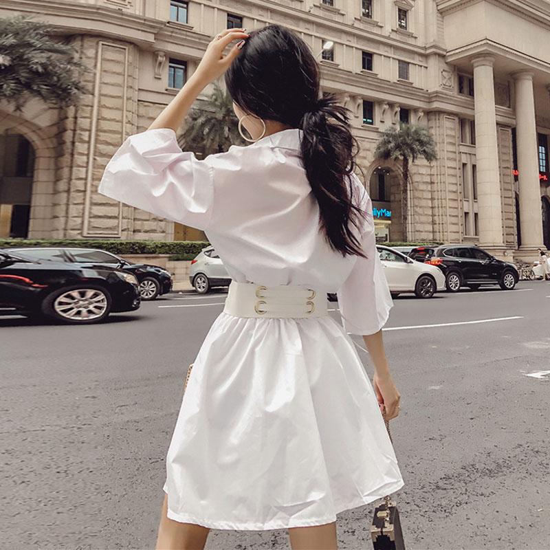 夏季韩版气质翻领五分袖收腰显瘦刺绣口袋a字连衣裙女衬衫裙子潮
