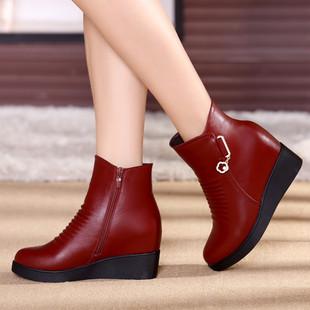 妈妈鞋真皮软底坡跟棉鞋女短靴中年女鞋冬季平底中老年人皮鞋防滑
