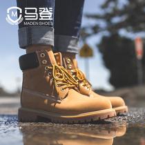 男鞋加绒马丁靴男高帮棉鞋冬季潮流百搭中帮男士工装鞋雪地靴