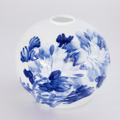 厂家景德镇陶瓷灯罩台灯吊灯吸顶灯落地灯配件圆球写意青牡丹