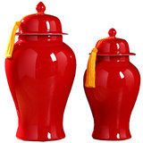 Jingdezhen red ceramic storage tank general tank vase new Chinese living room TV wine cabinet decoration porch ornaments