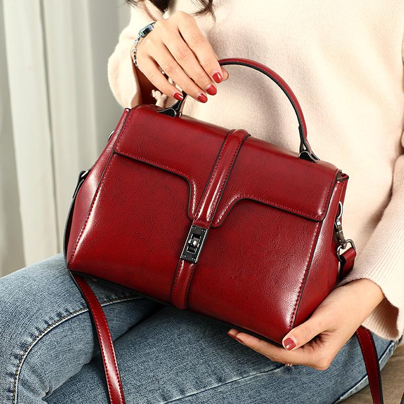西狂春季包包2019年女包新款網紅同款韓版百搭復古真皮手提斜挎包圖片