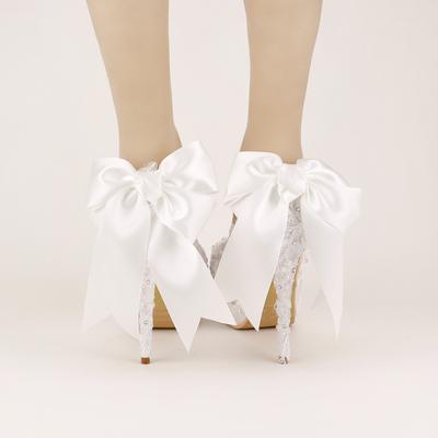 甜美白色蝴蝶结新娘鞋超高跟防水台细跟拍婚纱照蕾丝婚鞋单鞋女鞋