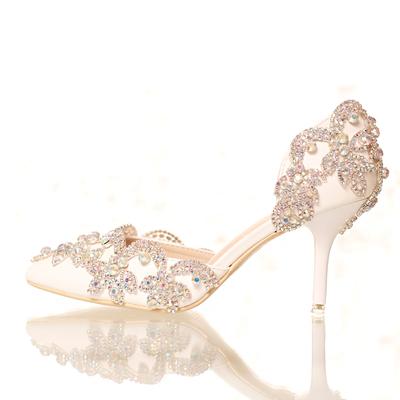 白色水晶鞋水钻新娘鞋超高跟细跟拍婚纱照侧空尖头女鞋凉鞋婚鞋夏