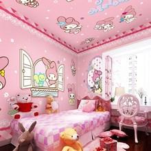 粉色公主房女孩壁纸床头卧室儿童房背景墙纸3d卡通可爱小兔子壁画