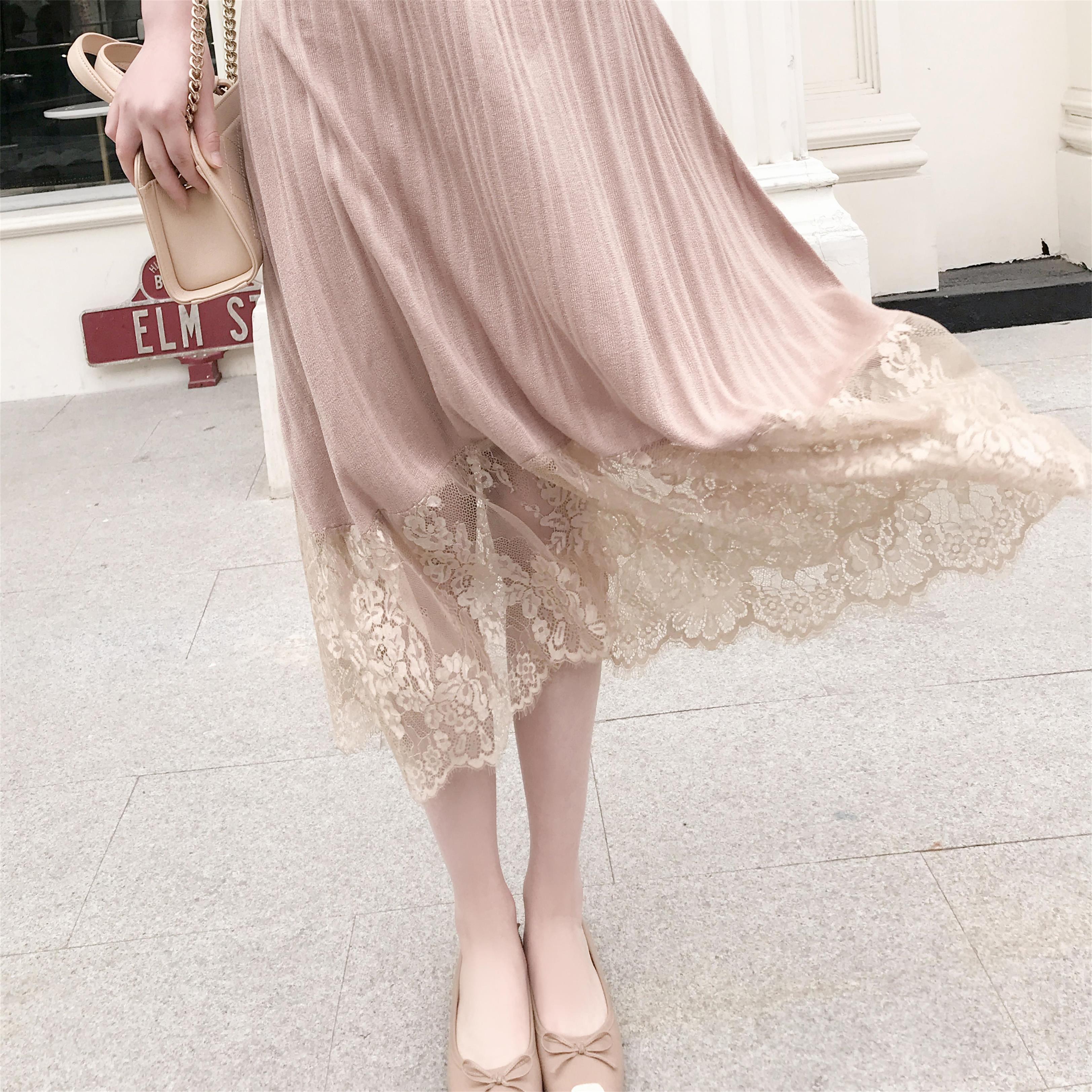 复古风针织针织裙