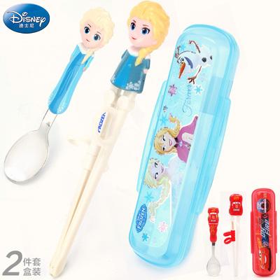 迪士尼儿童餐具便携套装筷子勺子两件套婴幼儿家用宝宝卡通学习筷