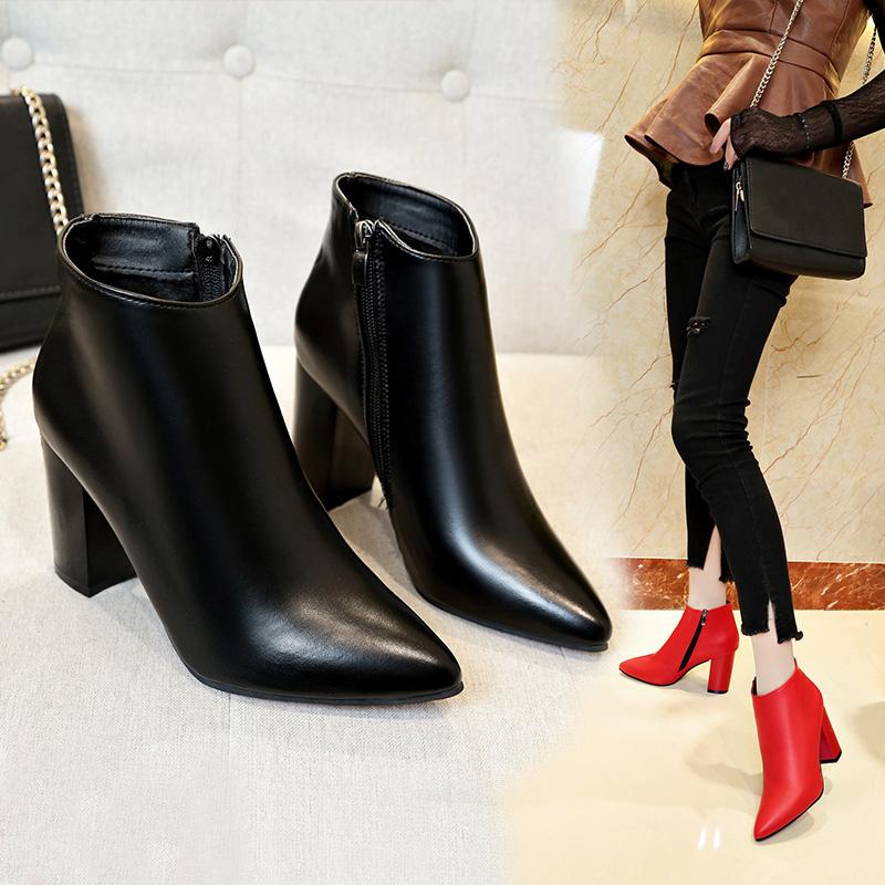 粗跟高跟鞋尖头冬季