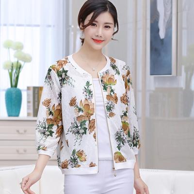 40-50岁妈妈中袖夏装薄款短外套新款中老年女装小夹克上衣空调衫