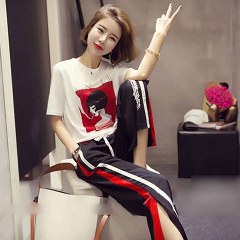 2018夏装新款俏皮港风时髦洋气套装女矮个子阔腿裤时尚社会两件套