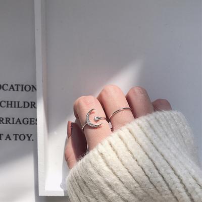 日韩潮人个性月亮细光圈组合戒指女锆石开口可调节指环尾戒J100