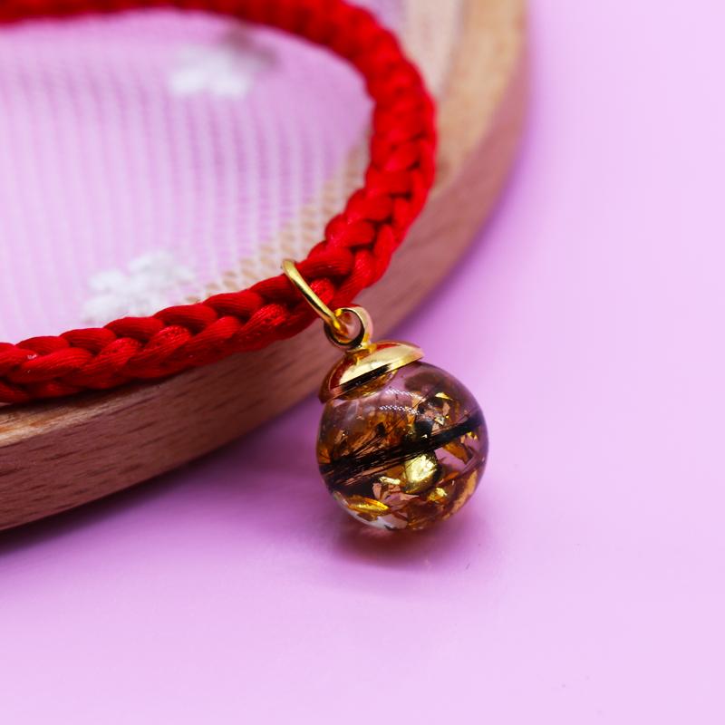 宝宝胎毛胎发纪念品婴幼儿胎毛坠红绳手链周岁礼DIY自制琥珀水晶