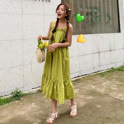 2019流行夏天裙子新款韩版森系牛油果绿色吊带连衣裙女长裙两件套