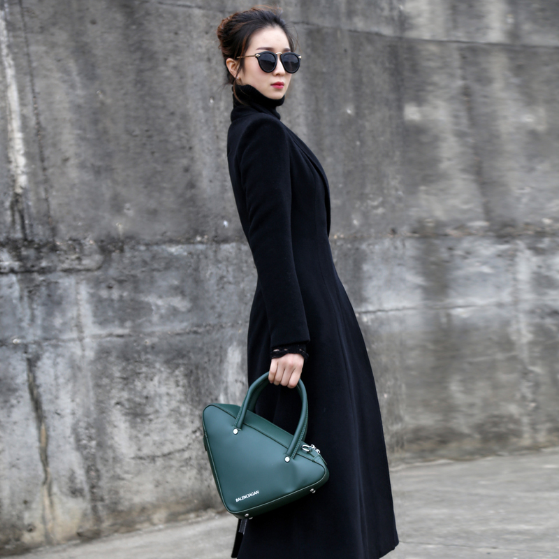 毛呢外套女2018秋冬新款修身显瘦过膝纯色西装领长款双面羊绒大衣