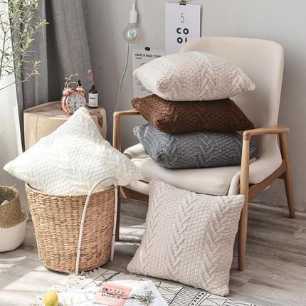 博文染坊针织毛线抱枕套 美式乡村客厅沙发靠枕套含枕芯不含芯
