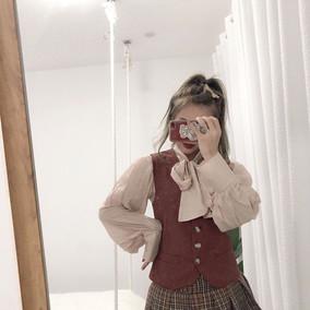 复古宫廷灯笼袖蝴蝶结系带衬衫+收腰系带马甲+学院风西装外套显瘦