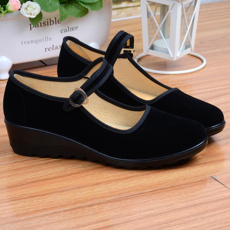 工作鞋坡跟松糕厚底平底跟黑色酒店工作鞋广场舞大码老北京布鞋女