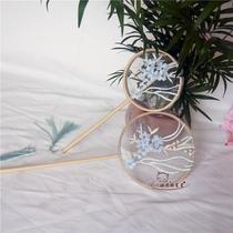 烤漆边黑贝壳女士全蕾丝日本和服扇和风扇子珍藏江户日式折扇