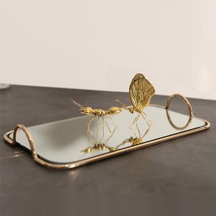 北欧风玻璃镜面金属托盘化妆品收纳盘甜点盘家居样板间收纳