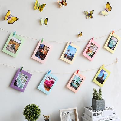 diy纸相框照片墙装饰悬挂麻绳夹子无痕钉创意卧室挂墙式7寸相片墙
