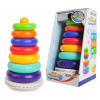 Baby Jenga Tumbler Rainbow Tower Ring Baby Infant Early Learning Educational Toys 0-1 6-12 months