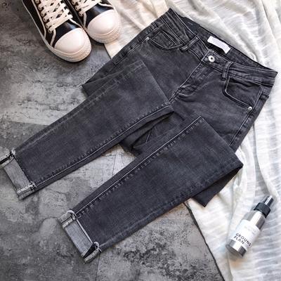 怎么搭都好看!韩国烟灰色修身显瘦高腰牛仔裤 卷边九分小脚裤女