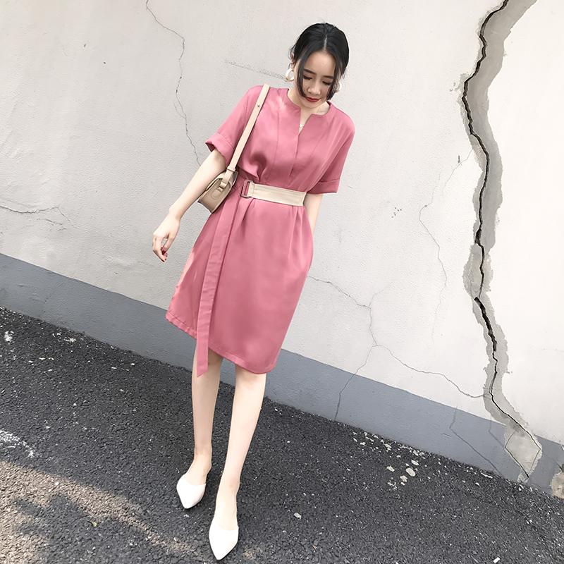 粉色长款修身短袖女